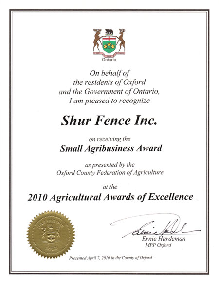 Agricultural Award of Excellence
